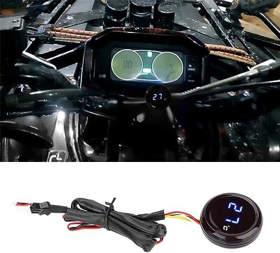 Chudan Wasserdichte Motorrad Thermometer Led Hintergrundbeleuchtung Meter Wassertemperaturanzeige Zeit Digitalanzeige Voltmeter Spannung Für Honda Kawasaki Yamaha Suzuki Sport Freizeit