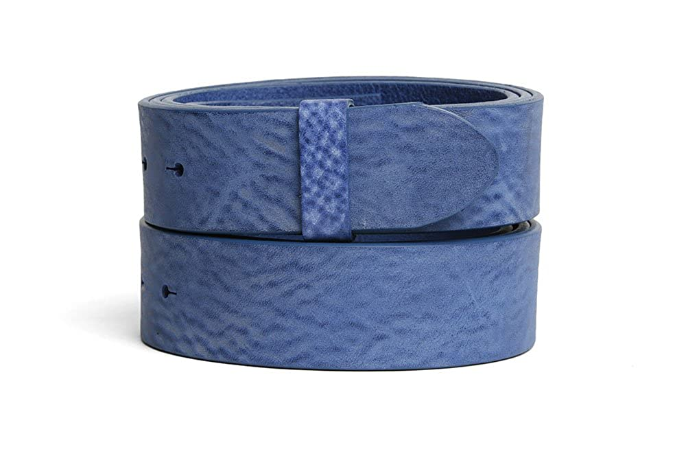 VaModa Belt, Cinturón en piel, modelo Gump, color azul, sin hebilla