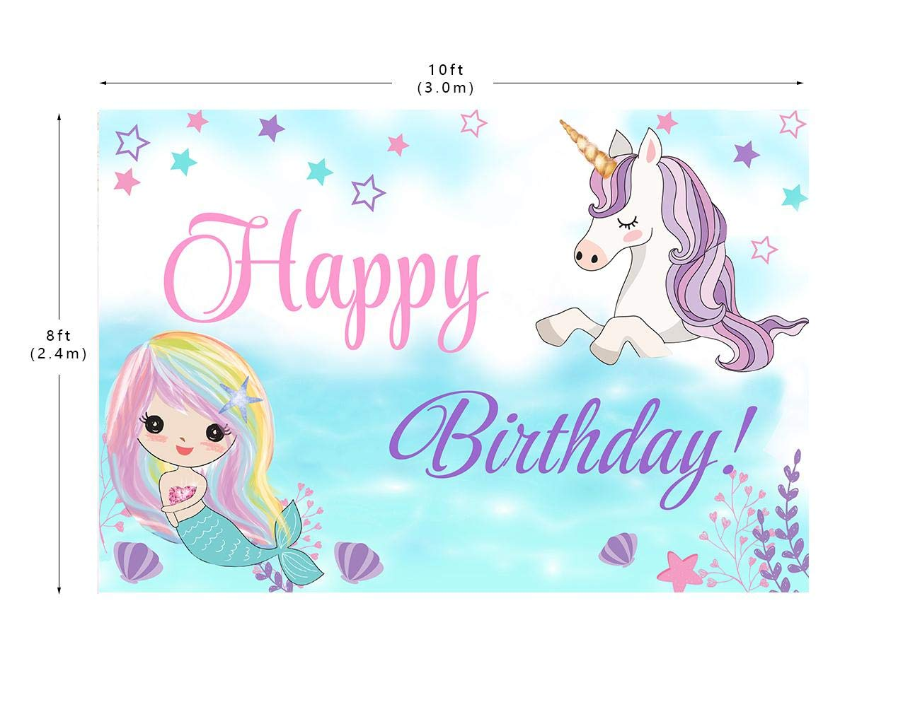 10X8ft Unicorn and Mermaid Backdrops Underwater Mermaid Unicorn Birthday Party Background Backdrop for Photo Booth by Mohoto