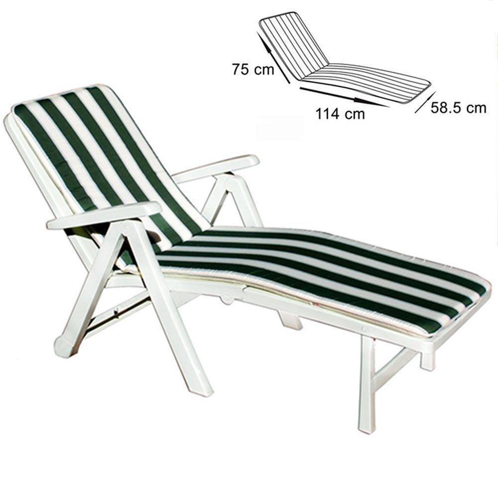 mod/èle Tenerife mesures 75/x 114/x 58,5/cm Bakaji Coussin pour chaise longue /à rayures confortable vert et blanc pliable 100//% polyester