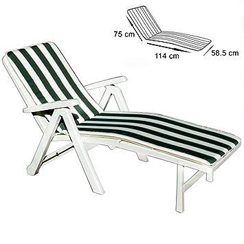À RayuresVert Coussin Blanc Pliable Chaise Et Bakaji Pour Longue 3ALc54jqSR
