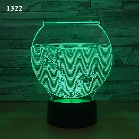 Luz de de luz Bbdeng nocturna Ambiente LED 3D Lámpara 7yg6Yfvb