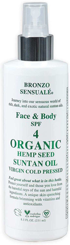 Bronzo Sensualé SPF 4 Sunscreen Organic Deep Tanning Hemp Seed Oil 8.5 Oz.