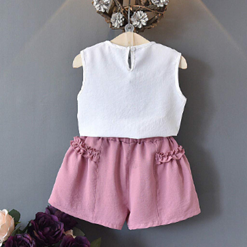 Fabal Toddler Kids Baby Girls Outfits Clothes Cherry Vest Shirt Tops+Shorts 2PCS Set