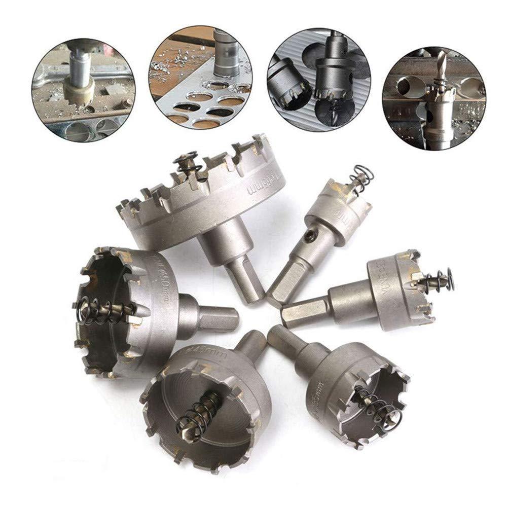 Ensemble de scie à métaux HSS, 4EVERHOPE 6 Pcs/ensemble Fraise à tailler les dents Pointe de carbure TCT Core Outil de coupe de travail des métaux Ouvreur de trou, 22-65mm