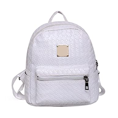 White Demiawaking Womens Pu Leather Backpack Purse Satchel Shoulder School  Bag Casual Travel Rucksack Daypack For a98285050d658