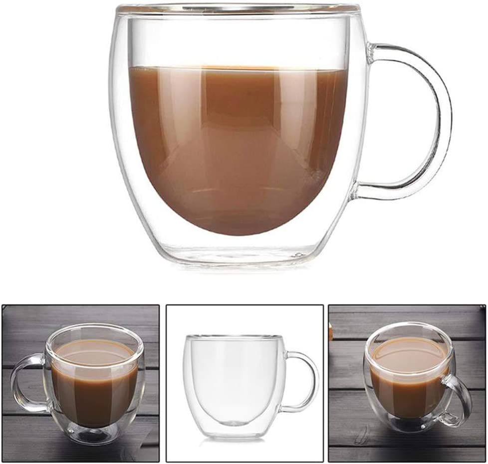 150 ml caf/é y capuchinos Juego de 4 tazas de caf/é de cristal de doble pared con asa tazas de cristal de doble pared para caf/é espresso