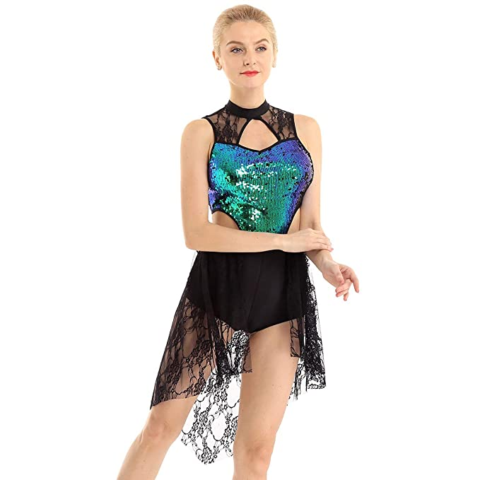 inhzoy Vestido de Danza Ballet Encaje para Mujer Maillot Largo ...