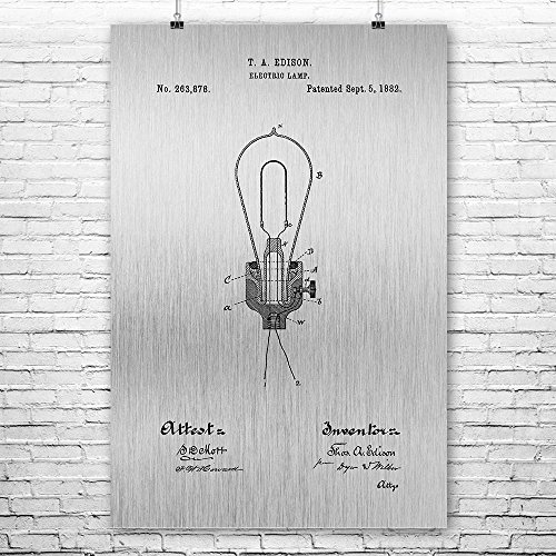 Edison Electric Lamp Light Bulb Poster Art Print, Thomas, Electricity, Engineer, Gift, Patent, Vintage, Wall, Home Brushed Steel (5