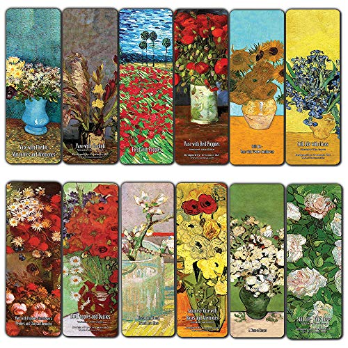 Creanoso Van Gogh Flower Painting Bookmarks (12-Pack) - Unique Art Print Design - Awesome Bookmarks for Bookworms, Men, Women - Assorted Bookmarks Designs - Page Book Clipping Wall Decal]()