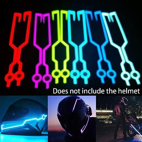 Automt Motorcycle Helmet Light Strip Led Light Motorcycle Helmet Kit Night Riding Signal Flashing Stripe Bar Purple White