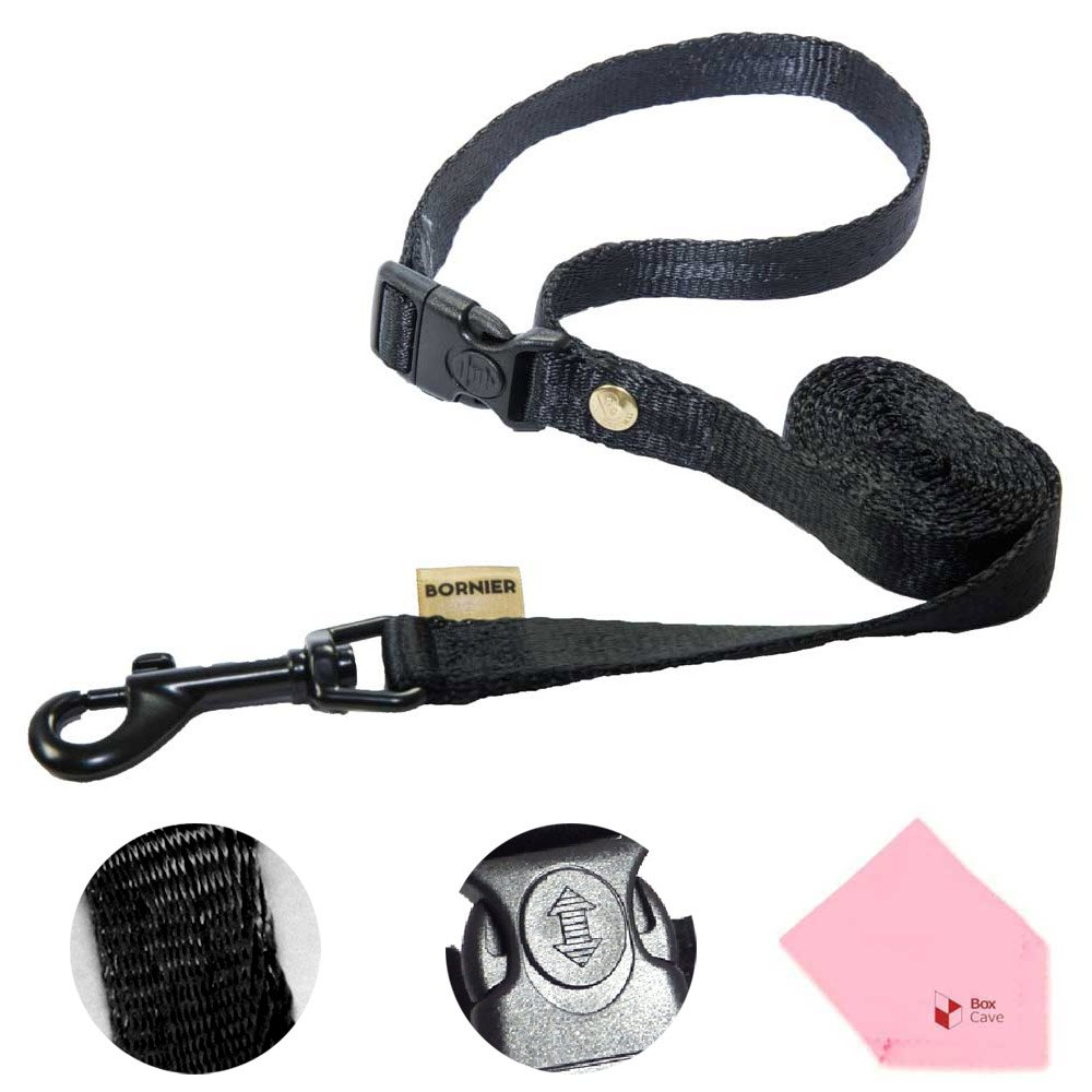 Black L 0.98''(wide) Black L 0.98''(wide) BORNIER Smart Dog Smooth Walking Leash with Quick Release Buckles, 47.2'' Length (Comes W BoxCave Microfiber Cleaning Cloth) (L, Black)