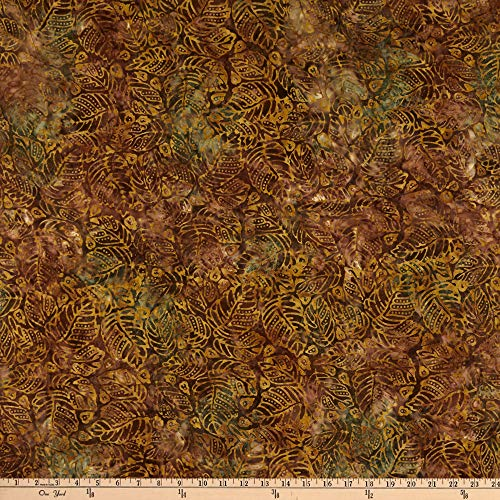(Benartex Bali Batiks Lake Front Forest Leaf Golden Cocoa Fabric by The Yard)