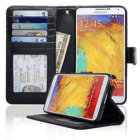 Navor Protective Flip Wallet Case for Samsung Galaxy Note 3 - Black (N3OBK) (Galaxy Note 3 Phone Case Black)