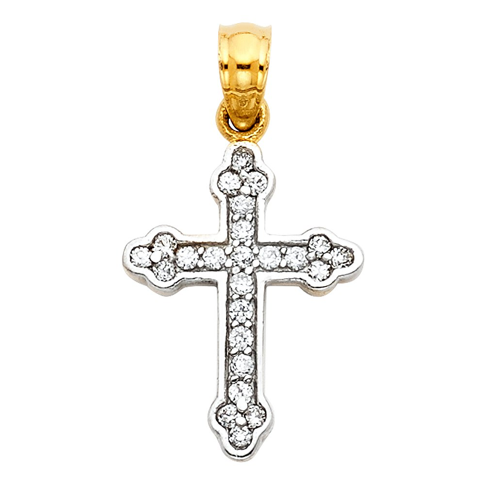 Million Charms 14k White Gold Small//Mini Religious CZ Cross Charm Pendant 16mm x 13mm