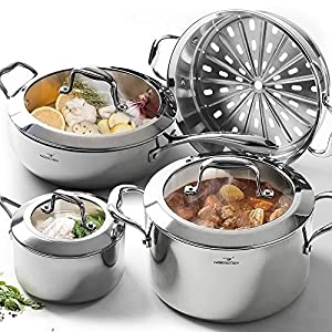 HOMI CHEF Mirror Polished NICKEL FREE 7-Piece Cookware Set Stainless Steel