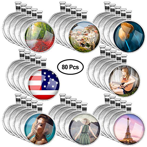 Accmor 40 Pcs Silver Pendant Tray with 40 Pcs Transparent Glass cabochons, Clear Glass Dome Cabochon, Round Pendant Bezel 1 inch/25mm for Photo Pendant Craft Jewelry Making, Total 80 Pcs ()