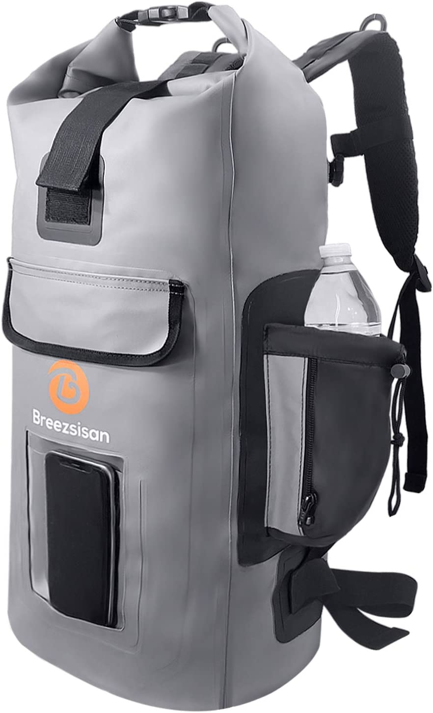 Breezsisan Dry Bags Backpack Waterproof 27L with Front Zippered Pocket - Dry Bag Outdoor Products for: Kayaking, Beach, Rafting, Boating, Camping Fishing Paddle Board Jet Ski