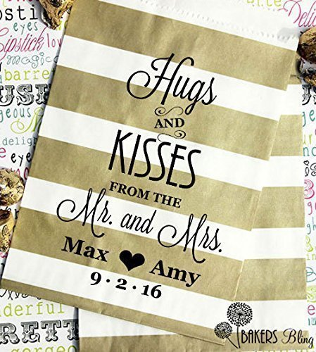 Personalized Wedding Favor Bags - Custom Printed Candy Bags - Cookie Favor Bags - Hugs and Kisses from the Mr. and Mrs - Set of 24 Bags with 24 FREE Stickers (Custom Cookies Printed)