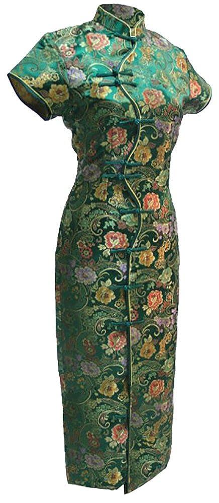 7Fairy Women's Vtg Green Ten Buttons Long Chinese Dress Cheongsam 1102805