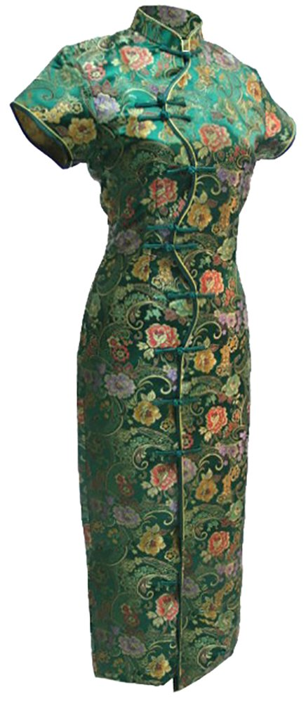 7Fairy Women's Vtg Green Ten Buttons Long Chinese Dress Cheongsam Size 12 US