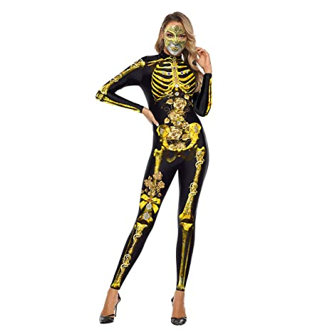 Joyibay Mono De Mujer De Halloween 3D Skeleton Flower Zip Up ...