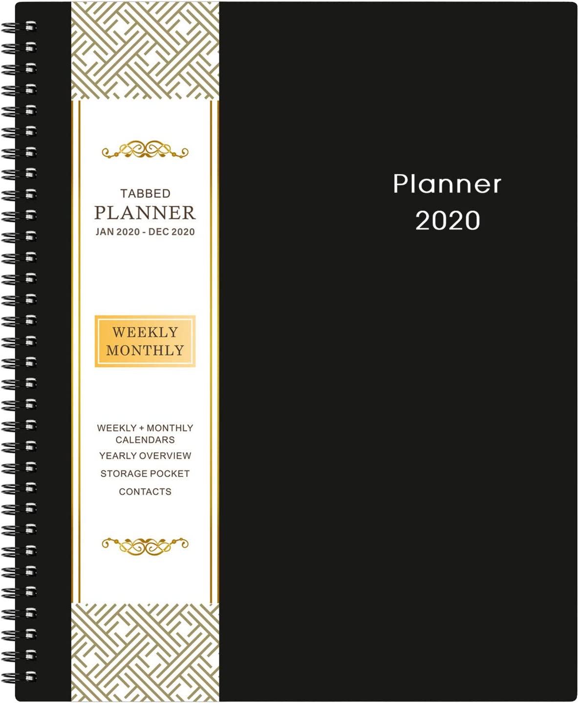 "2020 Planner - 9.2"" x 11"" Weekly & Monthly Planner with Inner Pocket, Jan 2020 to Dec 2020, Flexible Cover, Monthly Tabs, 21 Extra Pages,Twin-Wire Binding"