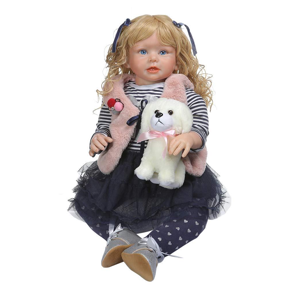 bulingLU-28in Realistische Reborn Puppe Weißhem Silikon Vinyl Neugeborenen Mädchen Prinzessin Hund Lebensechte Handgemachte Spielzeug Kinder Geburtstag