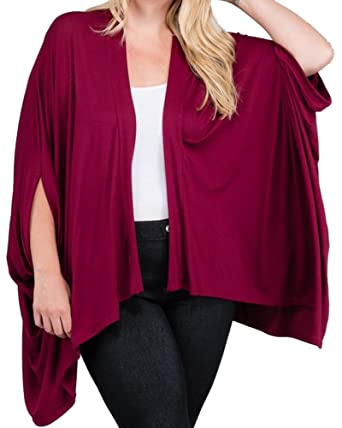 CurvyLuv Women's Plus Size Kimono Sleeve Cardigan Sweater Bat Wing ...