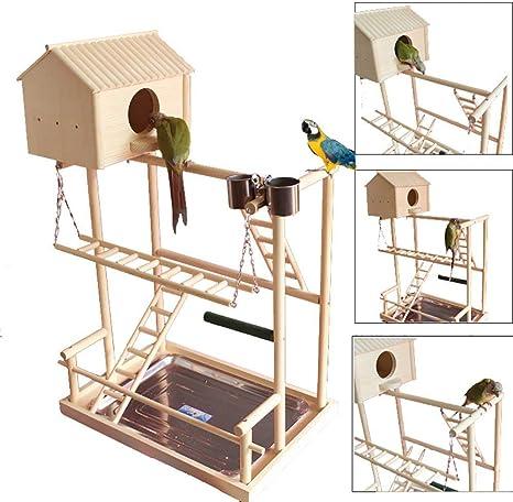 WANGYONGQI Grandes Perchas para pájaros Soporte para Juegos Gimnasio Loro Área de Juegos Patio de Juegos Columpio Bandeja de Puente Escaleras para Escalar de Madera Periquito de Madera Guacamayo: Amazon.es: Productos para