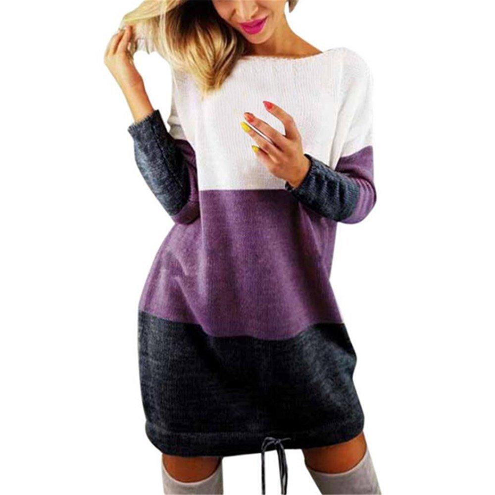 Kimloog Women O-Neck Long Sleeve Knit Color-Block Casual Sweater Party Short Mini Dress (M, Purple)