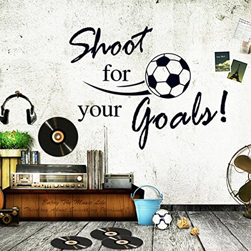 """Dnven (32""""w X 24""""h) PVC Removeable Wall Art Sticker Decal DIY Room Kid Mural Decor """" Good """" Letter Soccer Football"""