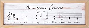 P. Graham Dunn Amazing Grace Rustic Sheet Music 24.5 x 7.75 Inch Wood Framed Art Wall Plaque