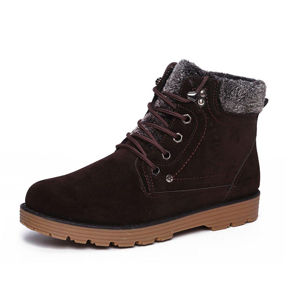 Winterstiefel  Hishoes Herren Warm Gefütterte Schneestiefel Anti Rutsch Martin Stiefel Winter Outdoor Freizeit Schuhe Sneakers Braun