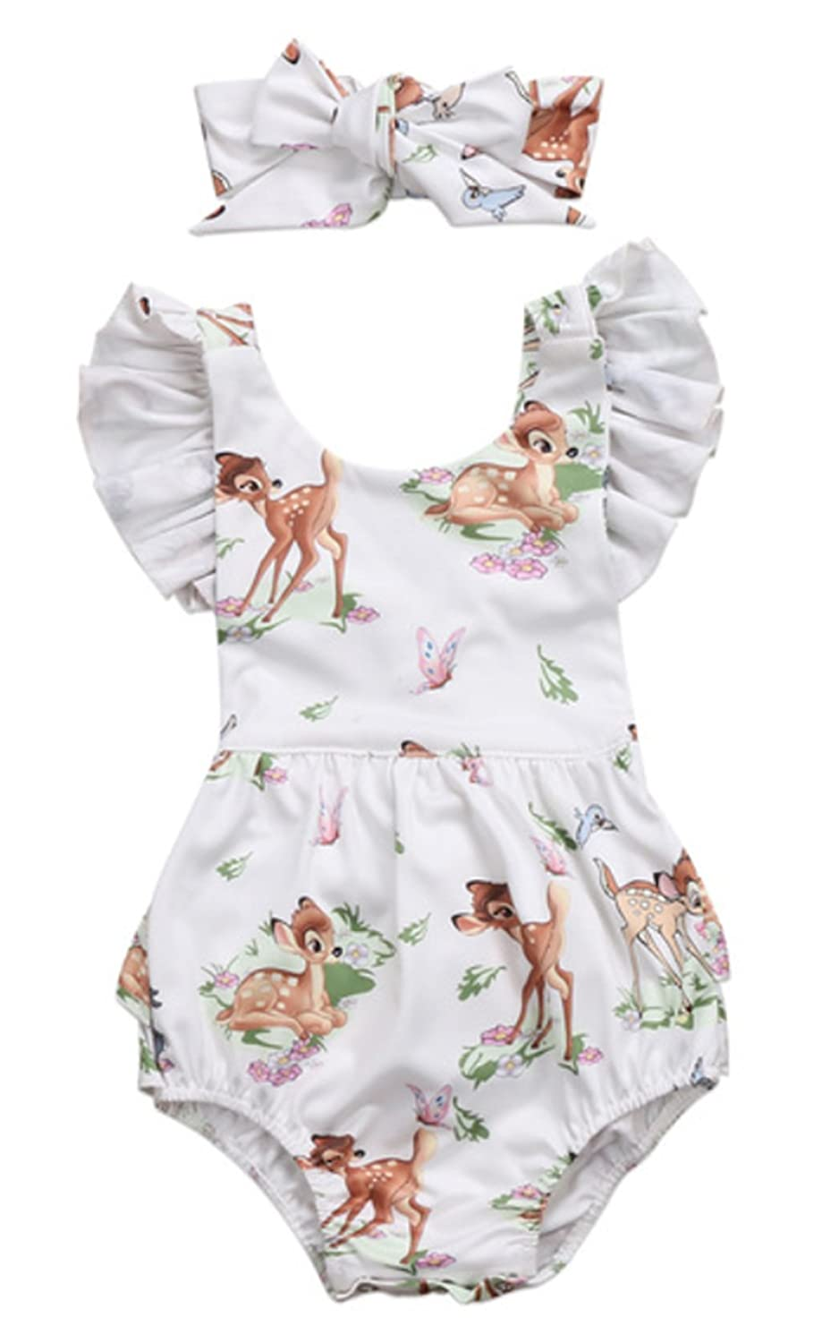 ba111ec2d super cute Christmas deer character ruffled sleeve backless sunsuit romper  with self-tied headband comfortable material and fashionable with unique  design ...