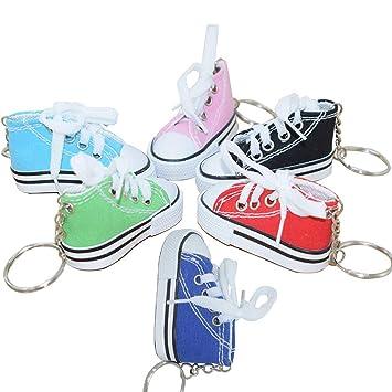 TOYVIAN 12pcs llaveros Zapatos de Lona, Lienzo Mini Zapatilla de Deporte Llavero para niños niña Partido favores