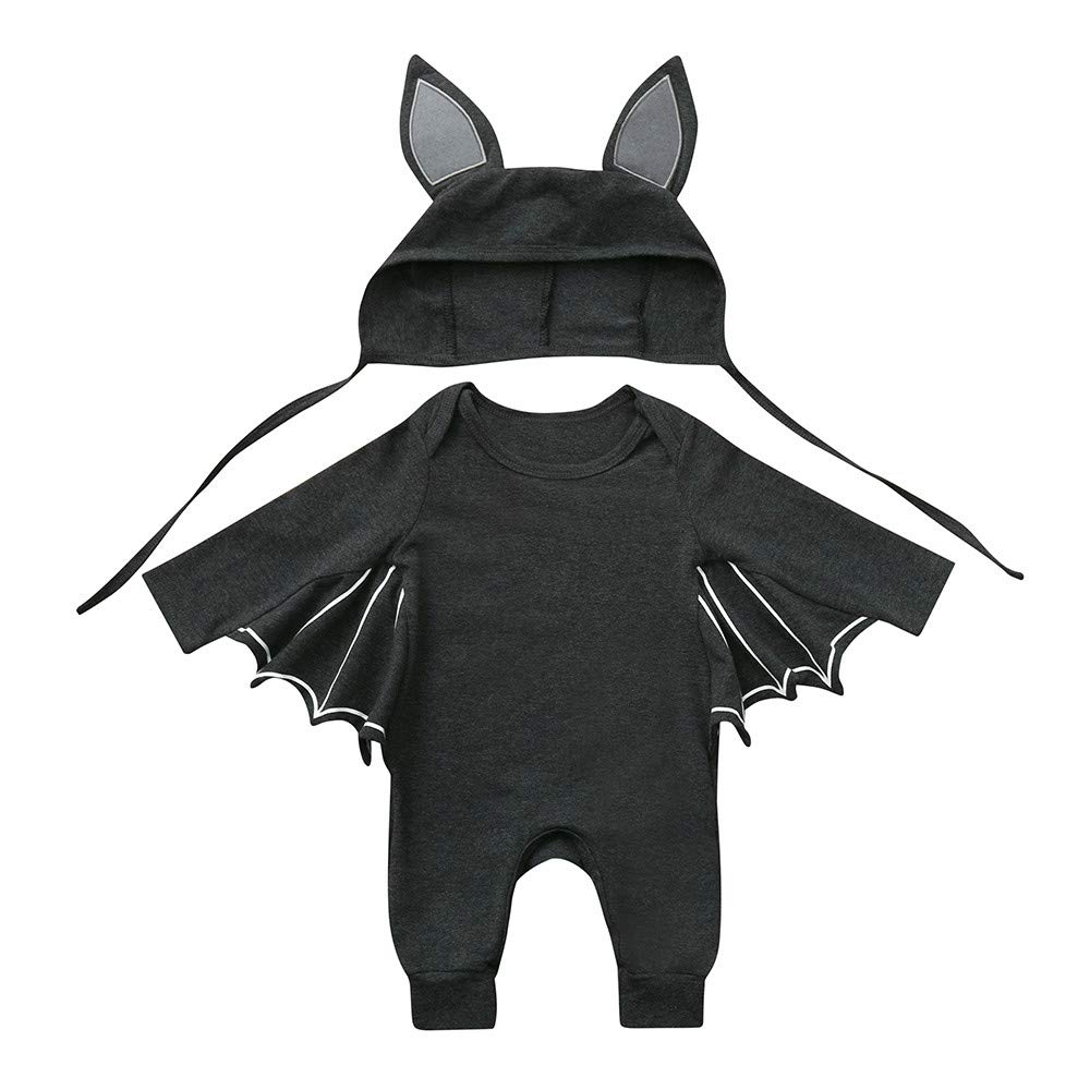 KaiCran Newborn Baby Boys Girls Long Sleeve Romper Jumpsuit Cartoon Ear Hat Cosplay Bat Cute Clothes