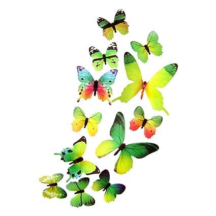 DEKOWEAR 3D Mariposas conjunto realista de 12 Decoración de la pared con Puntos de Adhesivo para
