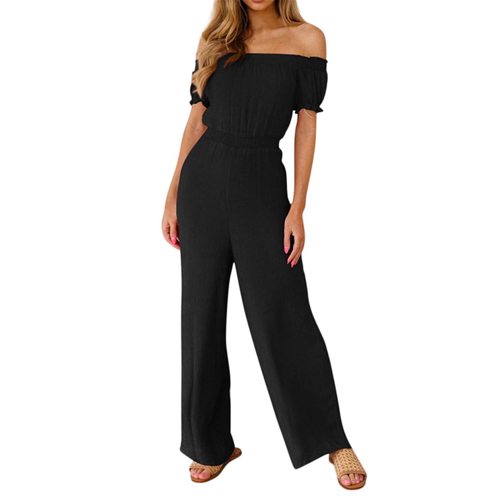 Thenxin Women Off Shoulder High Waist Jumpsuit Ruched Ruffle Trim Short Sleeve Wide Leg Long Romper(Black,L)