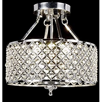 EDVIVI ESG802CH Marya 4 Light Drum Semi Flush Mount Crystal ...