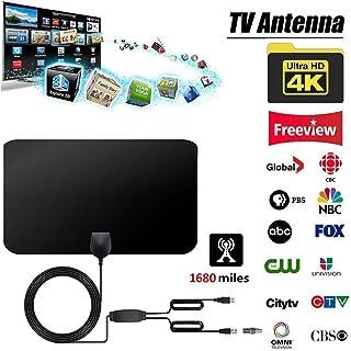 Blossomer Antenne amplifiée à 2400 km Antenne TVHD numérique 4K couverte de HD1080P DVB-T2 Téléviseur TNT pour la vie Chaînes locales Transmission lovely