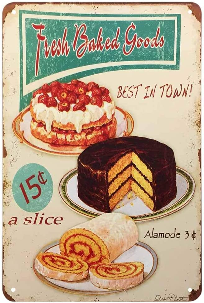 AOYEGO Fresh Baked Goods Tin Sign,Cake Cream Ring Fresh Delicious Strawberry Fruit Food Chocolate Dessert Plate Vintage Metal Tin Signs for Cafes Bars Pubs Shop Wall Funny Retro Signs 8x12 Inch