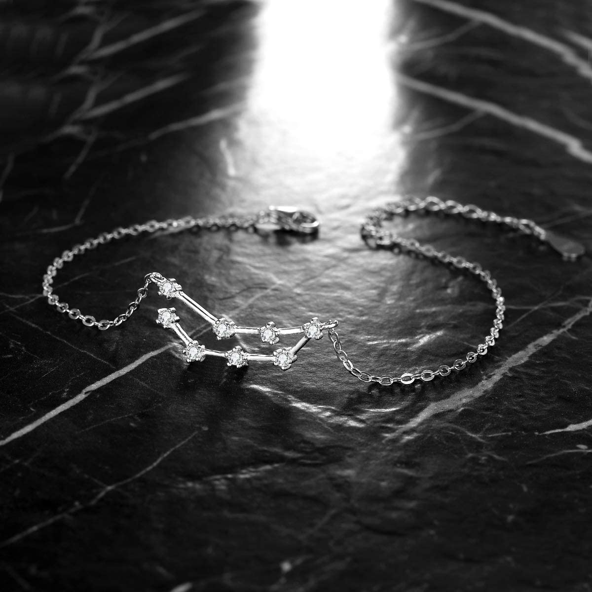 Clearine Femme Bracelet 12 Constellations Signes du Zodiaque 925 Argent Zircon Strass Signifiatif Parure Bijoux Horoscope Astrologie