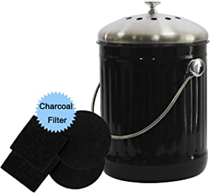 4W Indoor Compost Bin for Kitchen Counter-1.3 Gallon Compost Bucket with Stainless Steel Lid for Odorless Composting- Includes 4 Charcoal Filters (Black)