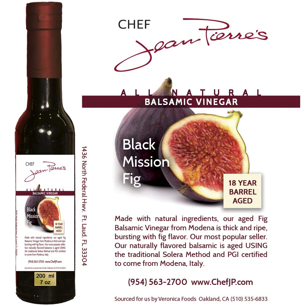 Black Mission Fig Aged 18 Years Italian Balsamic Vinegar 100% All Natural (200ml) (7oz) by Chef Jean-Pierre's