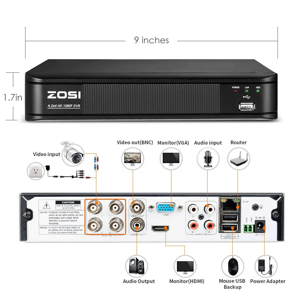 Amazon.com : ZOSI FULL HD 1080p Outdoor Surveillance System, 4 Channel CCTV DVR Recorder, 4 x 1080p Outdoor/Indoor Security Camera Outdoor with Night Vision ...
