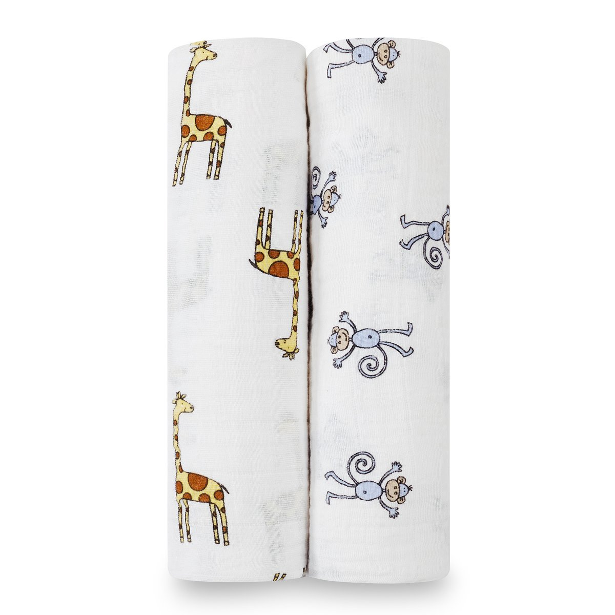 aden + anais swaddle, 100% cotton muslin, 120cm X 120cm, 2 pack, jungle jam 4023