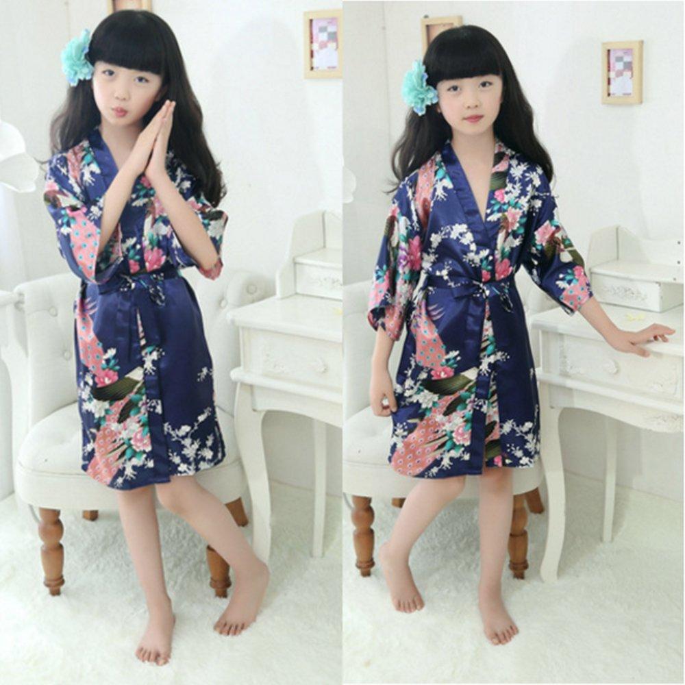 UHBGT Girls Silk Satin Blossoms Kimono Robes Children Sleepwear Kids Bathrobe Gift for Spa Party Birthday