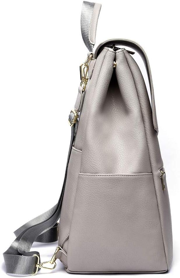 HaloVa Womens Backpack Large Travel Shoulders Bag Premium Leather Daypack for Ladies Girls Light Gray