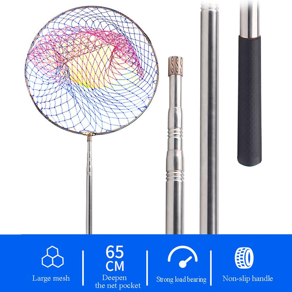 1.8m//2.1m//2.5m//3m//4m Fish Landing Net Fishing Net with Stainless Steel Telescopic Pole for Lobster Trout or Carp